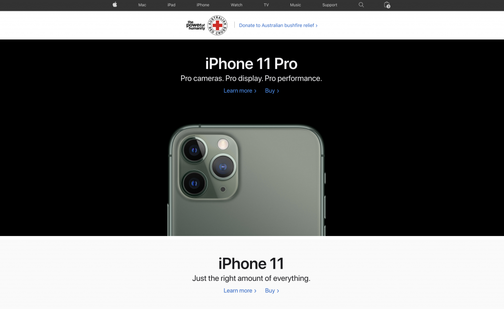 Take a look at the Apple homepage for instance...